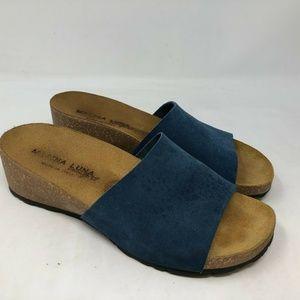 Marina Luna Comfort Leather Suede Blue Slides 6.5